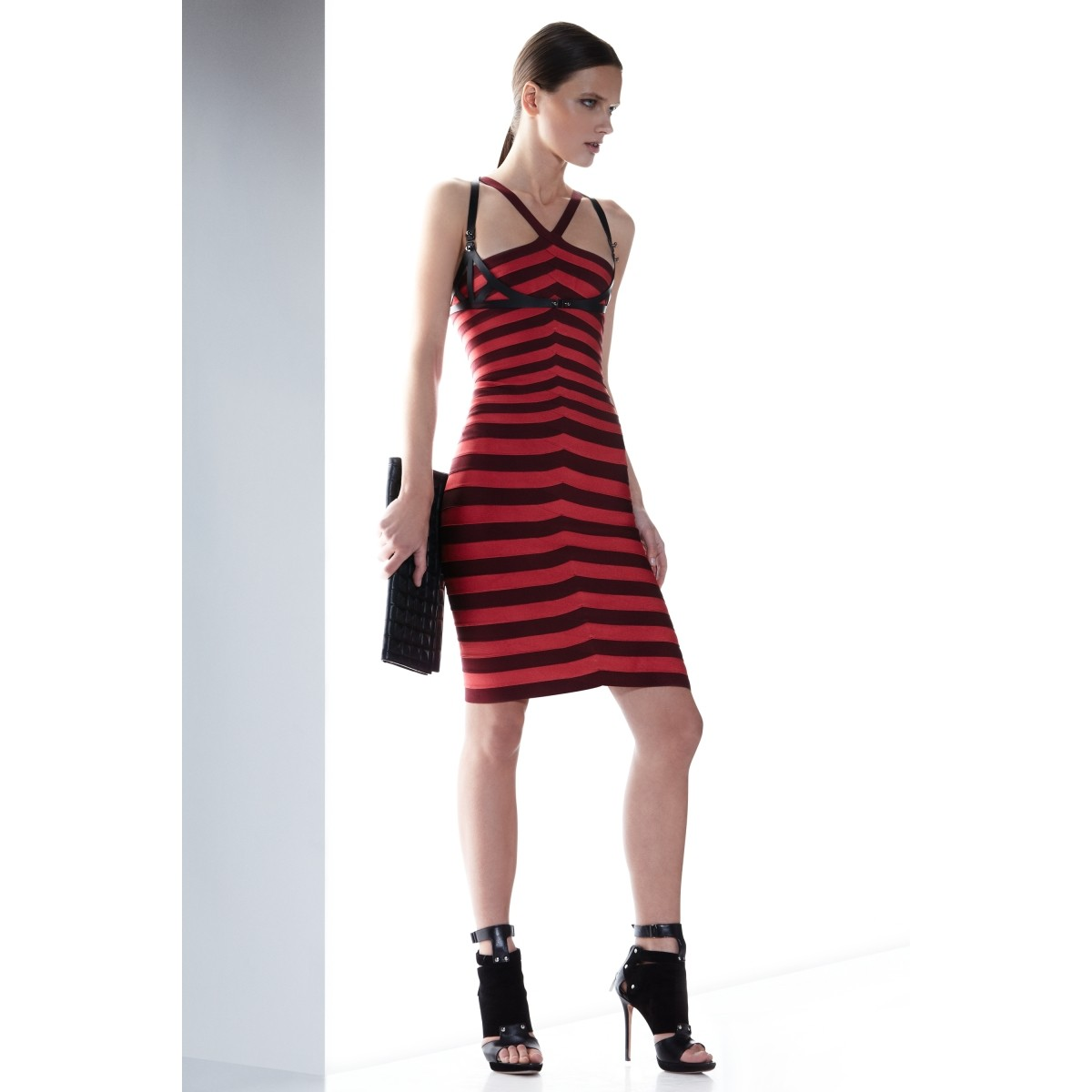 Herve Leger Red Zindzi Striped Bandage Dres